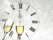Champagne over fireworks and clock close to midnight Stock Photography