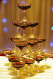 Champagne Pagoda in wedding Stock Photo