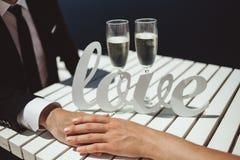 Champagne para amantes Imagens de Stock