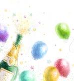 Champagne-Partei Feierthema mit dem Spritzen des Champagners steigt im Ballon auf und spielt die Hauptrolle Alles Gute zum Geburt lizenzfreie abbildung