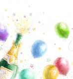 Champagne party. Celebration theme with splashing champagne balloons and stars.Happy Birthday.New Year.Party invitation.Birthday g Royalty Free Stock Photography