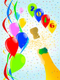 Champagne Party 2016. Multi coloured balloons, confetti and streamers, a party image stock illustration