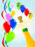 Champagne Party 2017. Multi coloured balloons, confetti and streamers, a party image for 2017 Royalty Free Stock Image