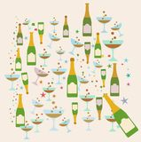 Champagne party pattern theme illustration Stock Photography