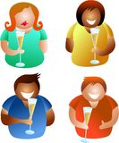 Champagne people. Diverse people holding champagne glasses - icon people series Stock Photo
