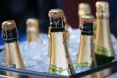 Champagne perrier-Jouet op het Nationale Tenniscentrum tijdens US Open 2015 wordt voorgesteld die Royalty-vrije Stock Foto