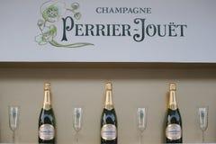Champagne perrier-Jouet op het Nationale Tenniscentrum tijdens US Open 2015 wordt voorgesteld die Royalty-vrije Stock Afbeelding