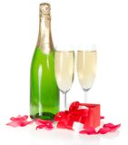 Champagne, petite opened gift box Stock Image