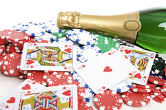 Champagne and poker Royalty Free Stock Images