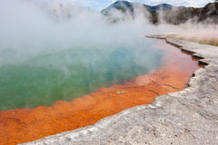 Champagne Pool. In geothermal area of Waiotapu, New Zealand Royalty Free Stock Image