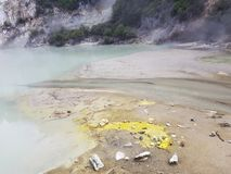 The Champagne Pool At Orakei Korako Cave and Thermal Park royalty free stock photo