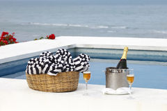 Champagne in the pool Stock Images