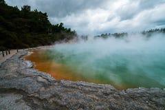 Champagne-pool in Rotorua, Nieuw Zeeland bij Zonsopgang Stock Afbeelding