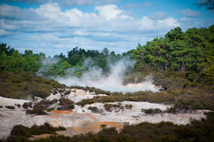 The Champagne Pool spring in Wai-O-Tapu Thermal Wonderland, Rotorua, New Zealand Royalty Free Stock Images
