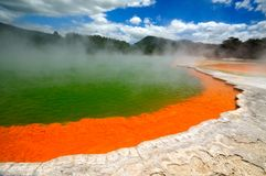 The Champagne Pool, Wai-O-Tapu. Wai-O-Tapu Thermal Wonderland, Rotorua, New Zealand royalty free stock photography