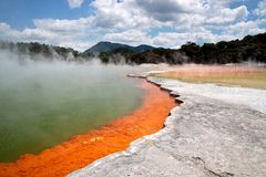 Champagne Pool at Wai-o-Tapu geothermal area. In Rotorua, North Island, New Zealand Royalty Free Stock Images