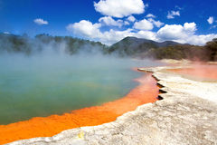 Champagne Pool in Wai-O-Tapu Geothermal Wonderland. New Zealand Royalty Free Stock Photography