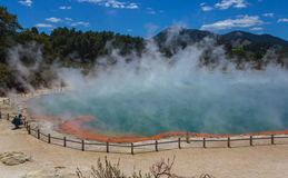 The Champagne Pool at Wai-O-Tapu or Sacred Waters – Thermal Wonderland Rotorua New Zealand. Amazing place to visit Royalty Free Stock Photo