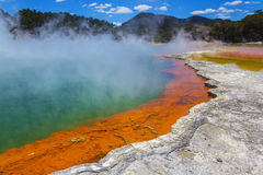 The Champagne Pool at Wai-O-Tapu or Sacred Waters – Thermal Wonderland Rotorua New Zealand. Colorful pool, amazing view here stock photos