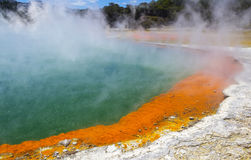 The Champagne Pool at Wai-O-Tapu or Sacred Waters – Thermal Wonderland Rotorua New Zealand stock photo