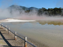 Champagne pool in Wai-O-Tapu thermal park, New Zealand stock photo