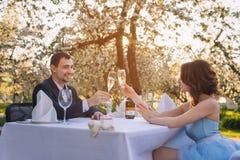 Champagne potable de couples extérieur Photos libres de droits