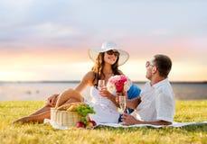 Champagne potable de sourire de couples sur le pique-nique Image libre de droits