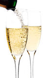 Champagne poured in to the glass Stock Photography