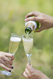 Champagne poured in to the glasses. Champagne pour with two glasses in hands Royalty Free Stock Photography