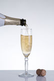 Champagne pouring into an elegant glass Royalty Free Stock Images