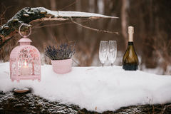 Champagne pouring in two glasses. winter forest Royalty Free Stock Image