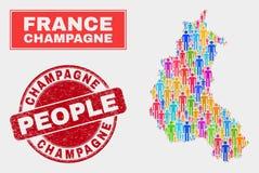 Champagne Province Map Population Demographics et timbre corrodé illustration de vecteur