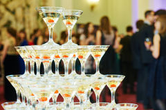 Champagne pyramid on event, party or banquet Stock Photos