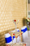 Champagne pyramid  on event, party or wedding banquet reception Stock Photo