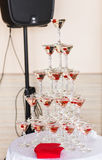 Champagne pyramid  on event, party or wedding banquet reception Royalty Free Stock Photos