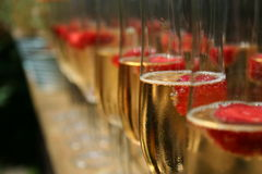 Champagne and Raspberries Stock Photos