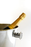 Champagne is ready!. Close up of a bottle of Champagne in the bucket Royalty Free Stock Photos
