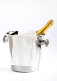 Champagne is ready!. Close up of a bottle of Champagne in the bucket Royalty Free Stock Images