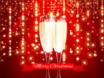 Champagne in realistic glass with merry christmas red ribbon and gold elements on red light background. Vector illustration. Royalty Free Stock Image