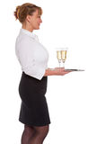 Champagne reception waitress Stock Photos