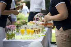 Champagne reception on wedding event