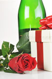 Champagne and red rose Royalty Free Stock Photography