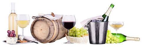 Champagne, red and white wine. Barrel,ice bucket,food,grapes isolated over white background stock photo