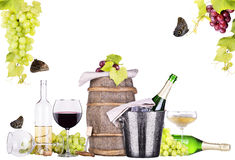 Champagne, red and white wine Stock Images