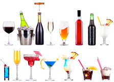 Champagne, red and white wine,beer Royalty Free Stock Photos
