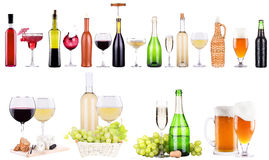 Champagne, red and white wine,beer. Ice bucket,food,grapes isolated over white background royalty free stock photo