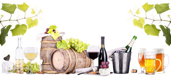 Champagne, red and white wine,beer. Ice bucket,food,grapes over white background stock image