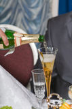 Champagne at restaurant. Royalty Free Stock Images