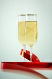 Champagne with ribbon Stock Photography