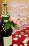 Champagne with rose Stock Photos